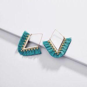NWOT Anthro Tassels Earrings in Teal